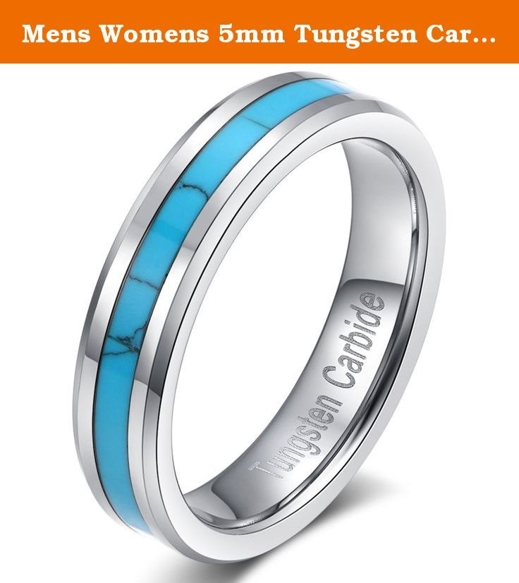 Mens Womens 5mm Tungsten Carbide Ring Turquoise Wedding Engagement Band High Polished Beveled Edges Comfort Fit. As a heavy metal, tungsten carbide is a very hard and dense with hardness between 8.5 and 9.5 on the hardness scale (Diamonds come to a 10). Its density allows tungsten to be used in jewelry as an alternative to gold or platinum. Tungsten carbide is about 10 times harder than 18k Gold, 4 times harder than titanium stainless steel, and it never fade, deform and always keep...