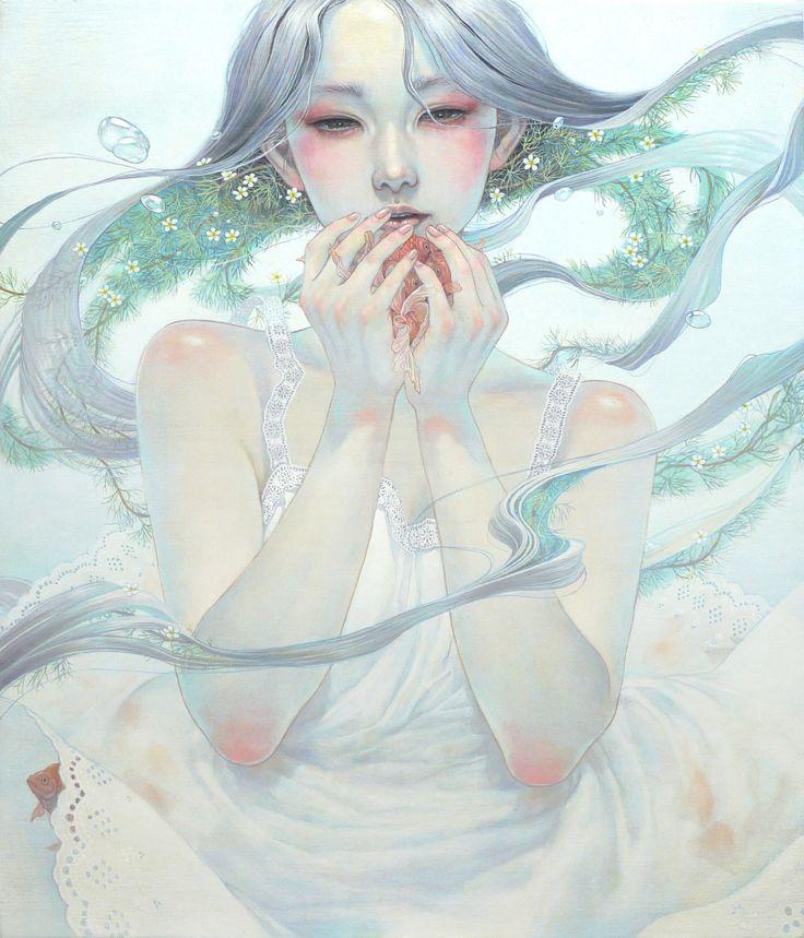 息吹 F10 Canvas Delicate Japanese Oil Paintings of Ethereal Woman Submerged with Nature by Miho Hirano