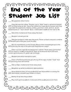 Jobs for kids to help clean the classroom at the end of the year.