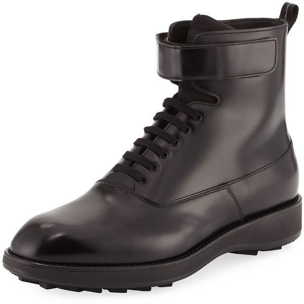 Prada Leather Lace-Up Combat Boot (1 085 AUD) ❤ liked on Polyvore featuring men's fashion, men's shoes, men's boots, black, mens leather combat boots, mens combat boots, mens lace up boots, mens army boots and mens leather boots #mensfashionboots
