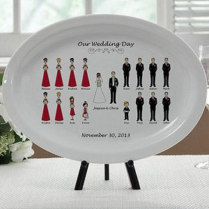 What a great Wedding Gift or Christmas Gift idea for the Newlyweds! It's a Personalized Wedding Gift Platter  so it has the bride, groom and all of the bridal party characters! You get to choose from hair and skin color and you can pick the color of the bridesmaid dresses too so it matches perfectly.
