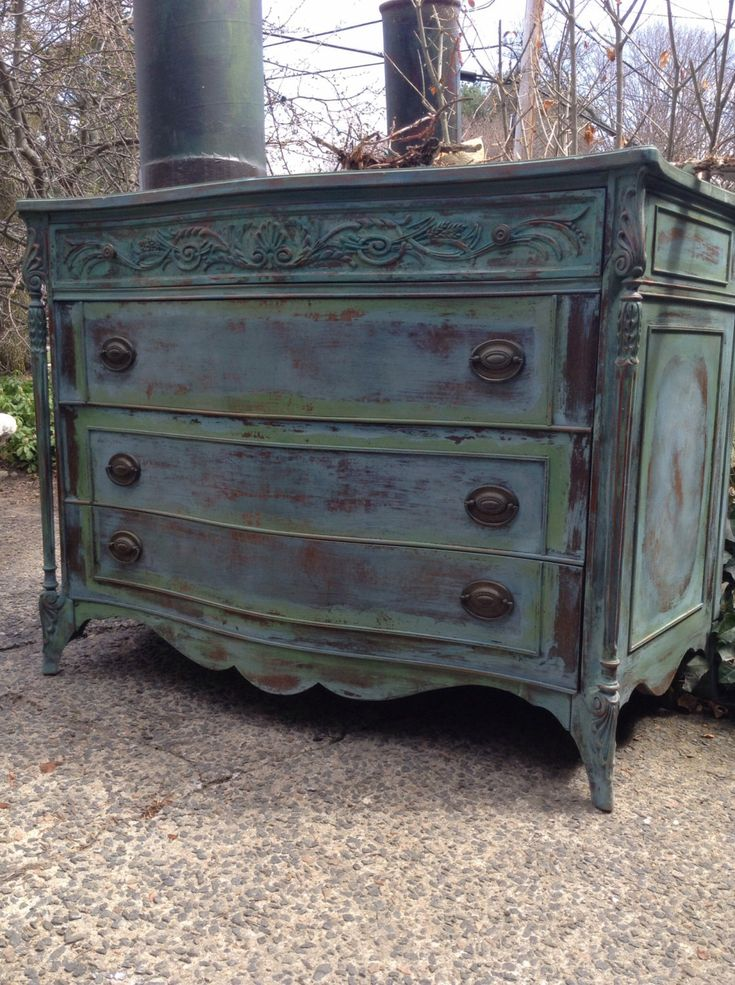 Painted Furniture Antique Green Turquoise Dresser French Country Vanity Vintage