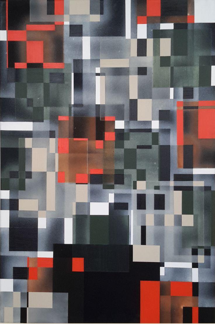"Marianne Grønnow ""Light, Dusk, Darkness"" 100x80 cm Akryl på lærred"