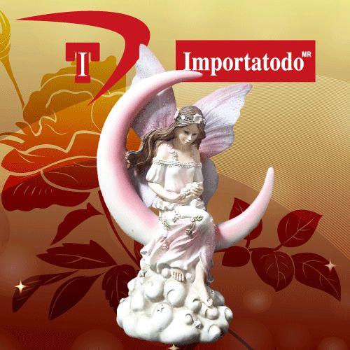Figura Decorativa Hada en Luna elaborada en Poliresina marca TRENTINO.  Modelo 45-622