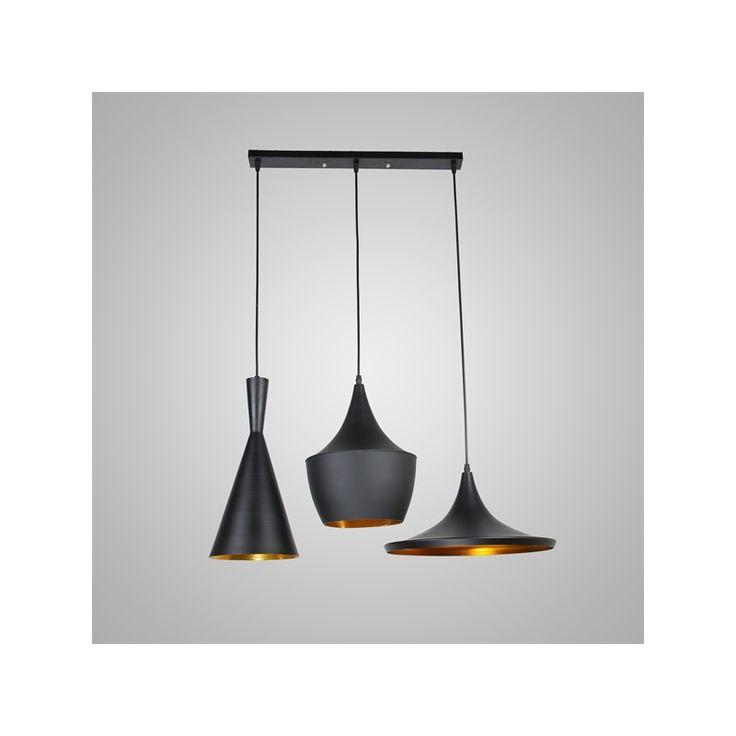 Luminaire - Lampes de plafond - Lampe suspendue - Plafonnier à 3 Suspensions, Style industriel en Aluminium Noir