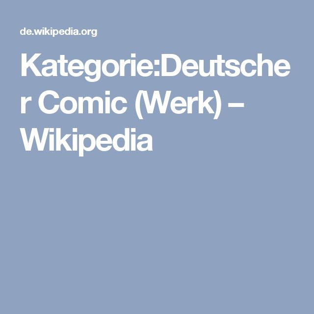 Kategorie:Deutscher Comic (Werk) – Wikipedia