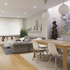 Con la nueva distribución se gana espacio de manera que consigue instalarse un sofá de dimensiones generosas y una mesa para 6 comensales.