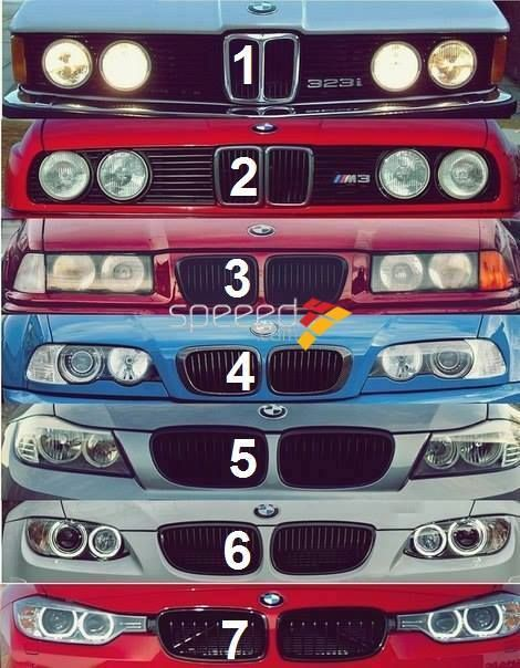BMW headlights and grills - 3 Series - for me, after gen 3 BMW started to loose its appeal: no longer exclusive and way too main stream...