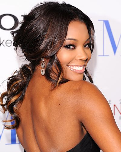 Gabrielle Union. curled ponytail. LOVE