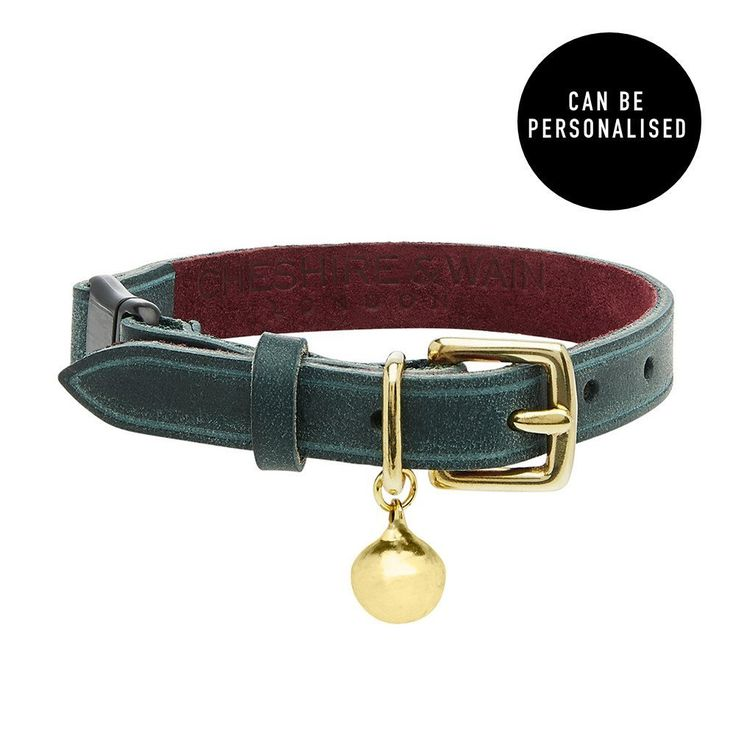 Treat your fabulous feline to this beautiful 'Rigby' deep freen leather cat collar from British brand, Cheshire & Wain. Have it personalised with your cat's name for something extra special.