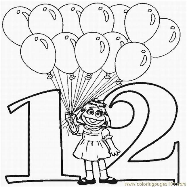 free printable number 12 coloring pages twelve balloons - Number 12 Coloring Page