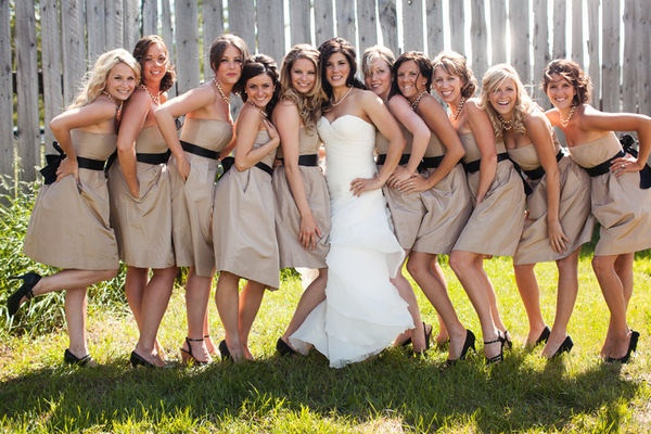 neutral and black bridesmaids dresses.