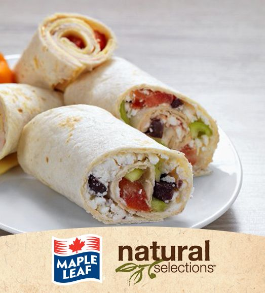 Mediterranean Chicken Salad Wraps #NaturalSelections @MapleLeafFoods