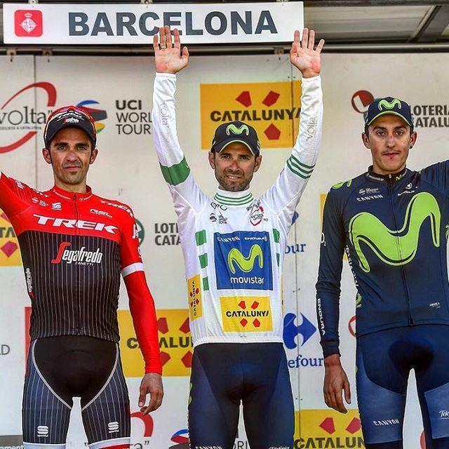 "Volta a Catalunya 2017 (World Tour)   Final general classification :  1. Alejandro Valverde (Movistar Team) in 25:27'15""  2. Alberto Contador (Trek – Segafredo) at 1'03""  3. Marc Soler (Movistar Team) at 1'16""  4. Adam Yates (ORICA-Scott) at 1'31""  5. Tejay van Garderen (BMC Racing Team) at 1'34""  6. Daniel Martin (Quick-Step Floors) at 2'29""  7. Steven Kruijswijk (Team LottoNL-Jumbo) at 2'56""  8. Carlos Verona (ORICA-Scott) at 3'00"""