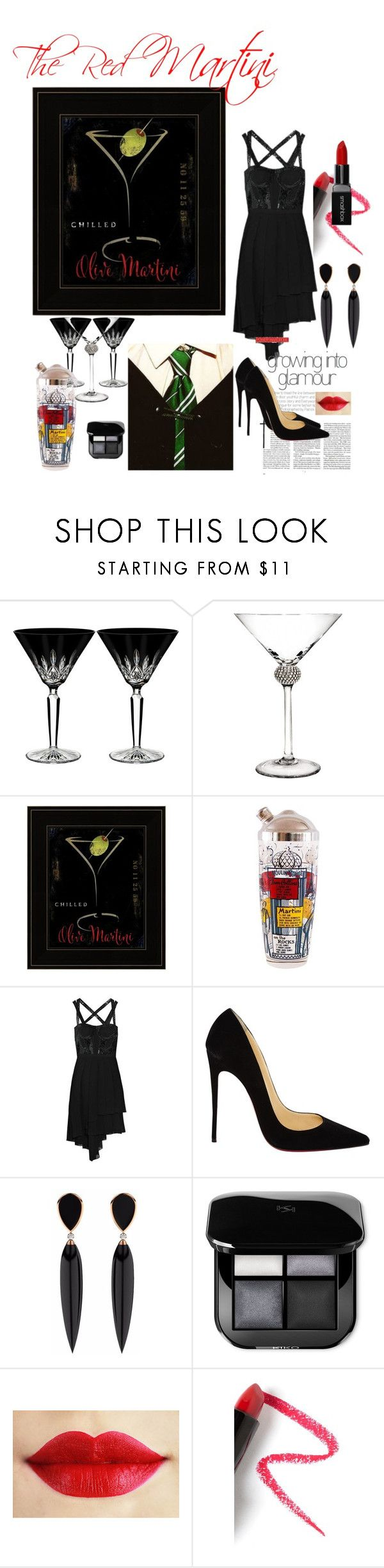"""""""The Red Martini"""" by rosalindmarshall ❤ liked on Polyvore featuring Waterford, Anchor Hocking, Versace, Christian Louboutin, Lapcos and Smashbox"""