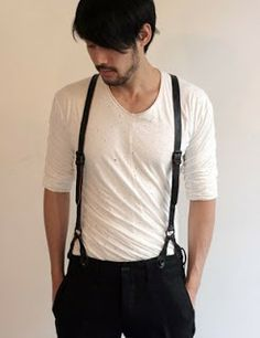 henley + suspenders. long sleeve t-shirt. men's fashion and style