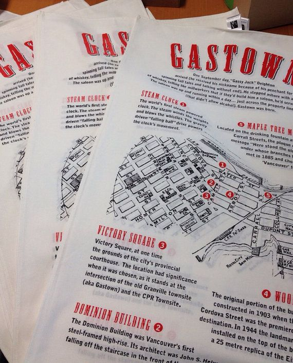 Handprinted Gastown tea towels by TheHivePrinting on Etsy, $20.00