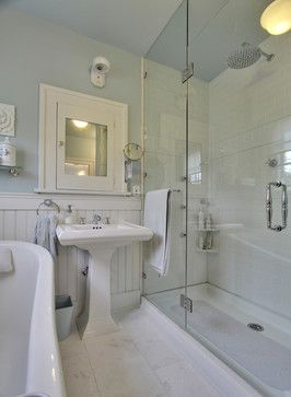 Victorian style bathroom - wooden panelling with dado rail and white subway tiles in the shower. But grey instead of blue... and a white ceiling