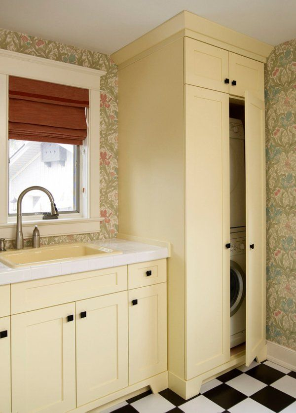 "51 Wonderfully clever laundry room design ideas- bottom of post has a good pic of ""hidden"" w/d and laundry room that would work in a kitchen"