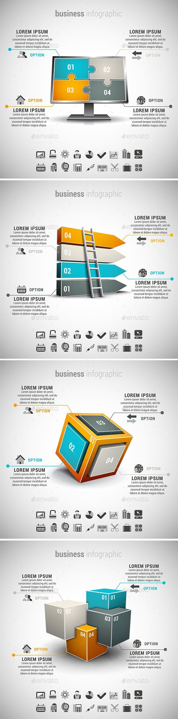 4 in 1 Business Infographics Bundle — Photoshop PSD #layout #colorful • Available here → https://graphicriver.net/item/4-in-1-business-infographics-bundle/11206811?ref=pxcr