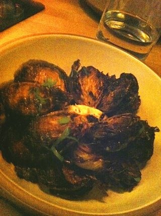 Fried Brussels sprouts with cider syrup and goat cheese