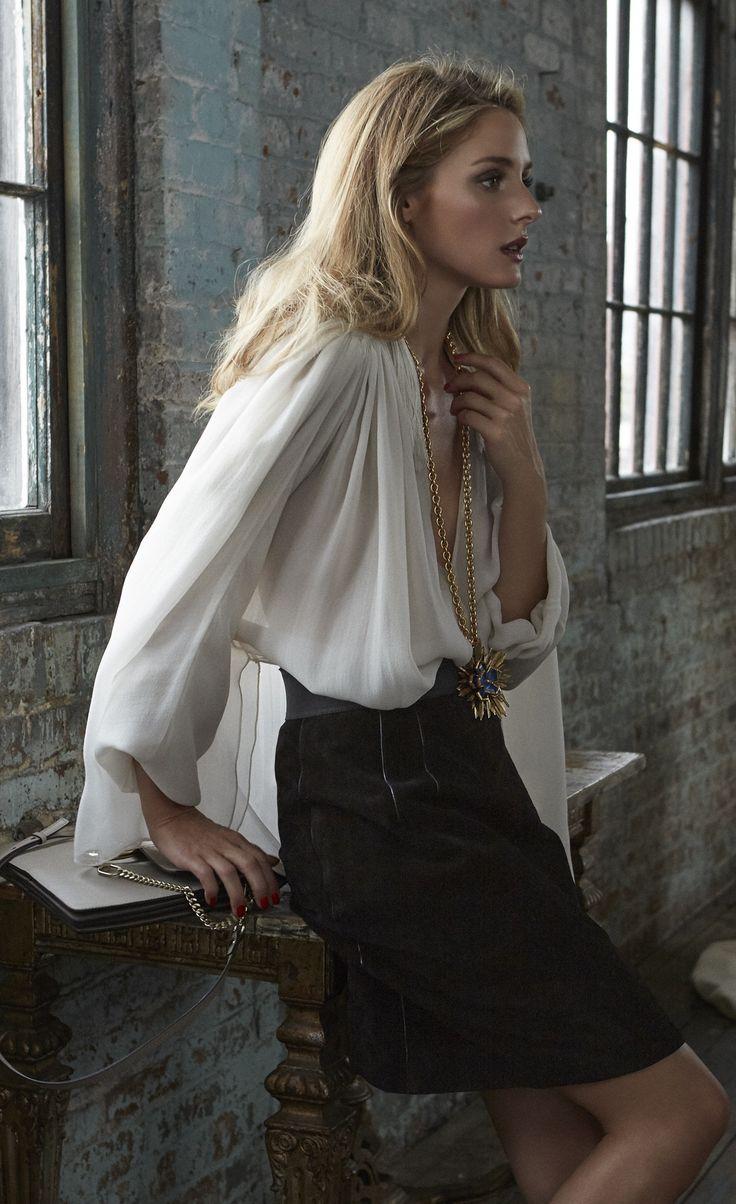 Olivia Palermo, Lanvin shirt, Oscar de la Renta pendant, Dolce & Gabbana skirt, and Chloé bag