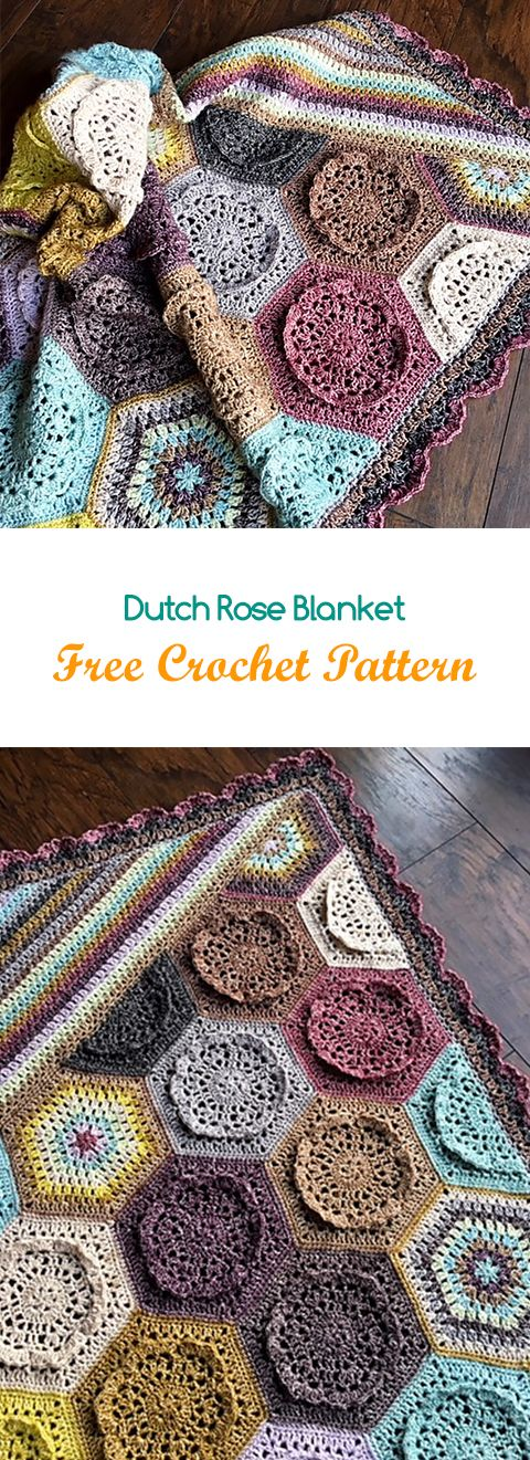 Dutch Rose Blanket Free Crochet Pattern #crochet #yarn #crafts #home #homedecor #style