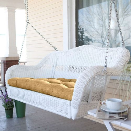 White Resin Wicker Porch Swing w/Comfort Spring and Hanging Hooks, Sand Cushion
