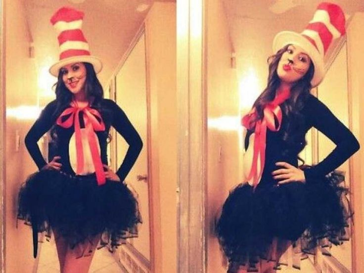 Pinterest users love this homemade Cat in the Hat costume, pinning it more than 600 times.