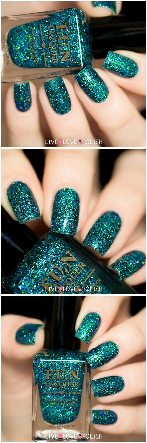 Teal glitter nail polish