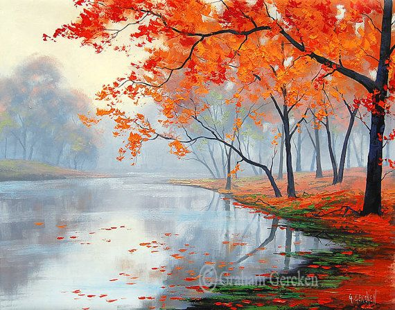 AUTUMN OIL PAINTING lake painting contemporary art impressionist landscape tree paintings