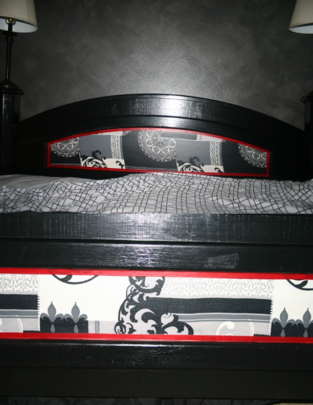 This project was time consuming but WORTH it! I painted out king bed frame two nightstands and a large dresser a gloss black then used the decoupage tutorial found here - http://www.jcarolinecreative.com/Merchant2/merchant.mvc?Store_Code=JC=NIGHTSTAND to turn our beat down garage sale mismatched bedroom furniture into a beautiful matching set.