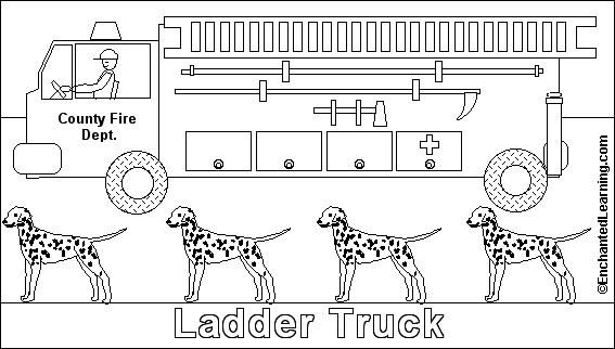Fire Safety: Fire Truck Online coloring page from EnchantedLearning.com  Nice for your computer center.