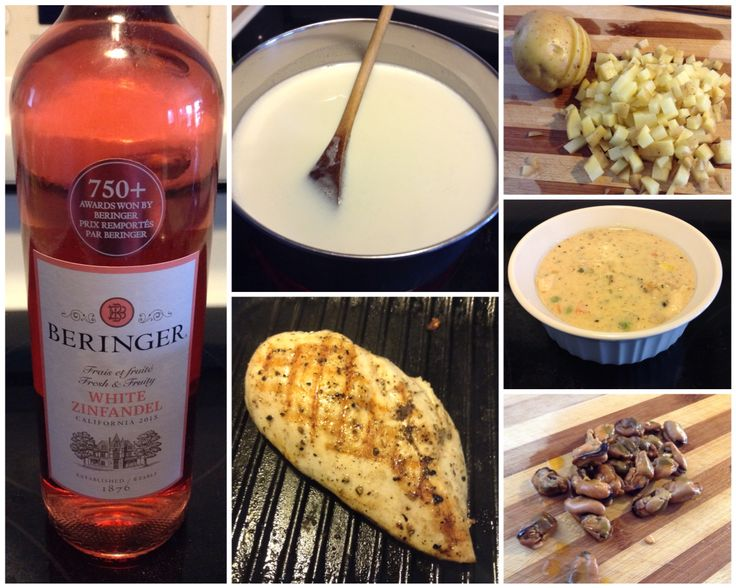 Smoked Mussel Chicken Chower with 2015 Beringer White Zinfandel