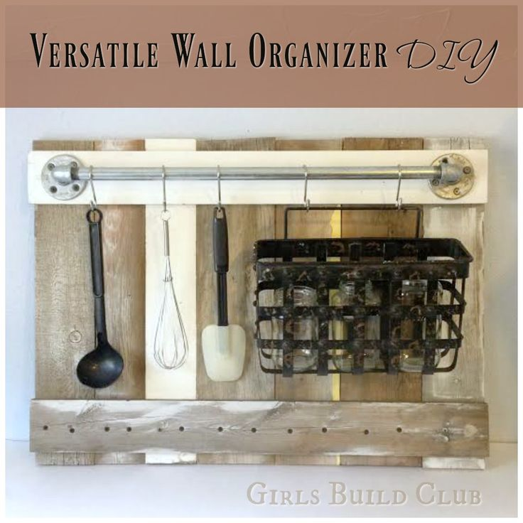 Kitchen utensil rack diy. I made this wall organizer from scrap wood and pipes so it was super cheap. Would look great in a country farmhouse kitchen or even a beachy coastal theme.