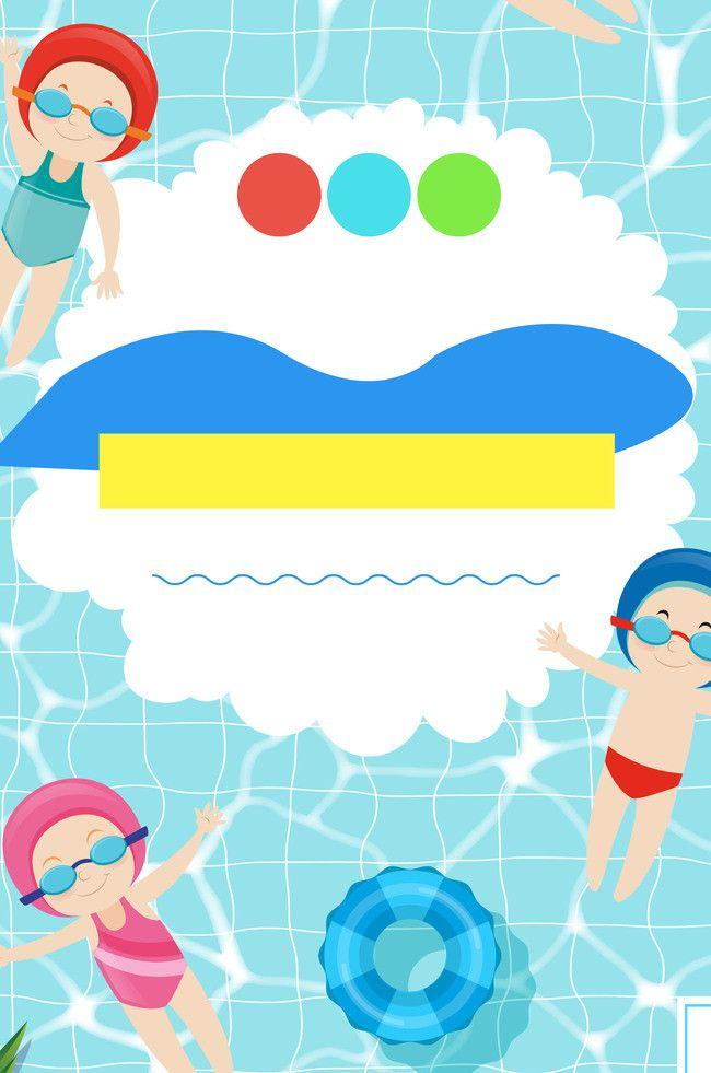 Design Cartoon Cute Art Background Summer Cartoon Swim School Cute Art