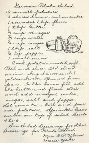German Potato Salad - Vintage Recipe from a Lutheran Church Cookbook