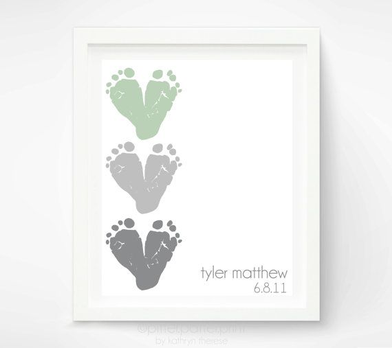 Gift for New Dad - Baby Footprint Hearts - Personalized First Fathers Day Gift - Valentines Day Gift for Grandparents, New Grandpa