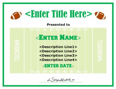 Free printable football award certificate in PDF and DOC format. The design is generic so it could be used for a participation award, MVP award, etc. Free downloads at http://mycertificatetemplates.com/download/football-certificate/