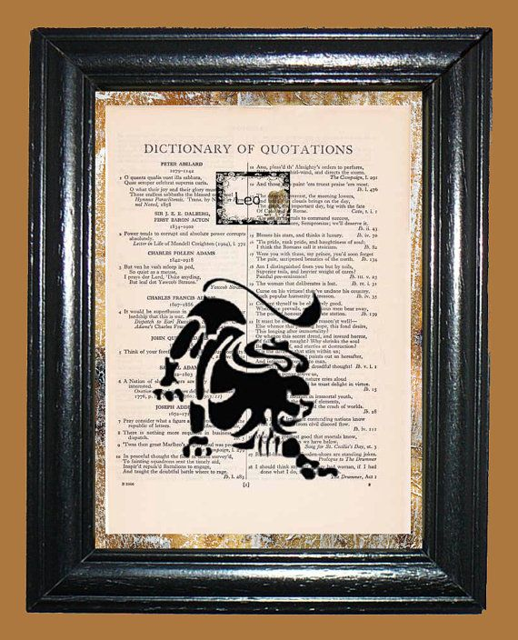 Black Leo Lion Zodiac Art  Vintage Dictionary Page by CocoPuffsArt, $9.99