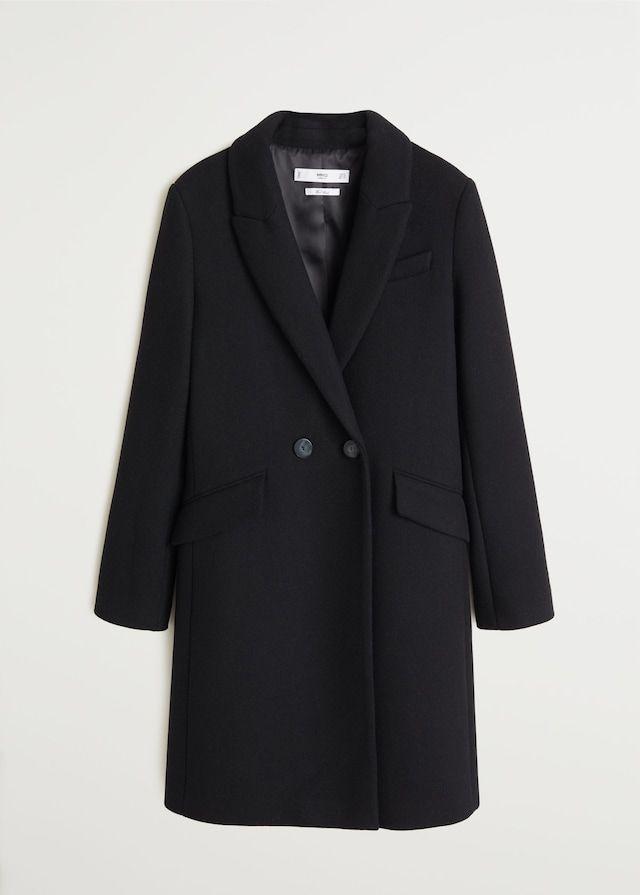 Wollen jas met revers Dames | Mango Nederland | Wollen jas