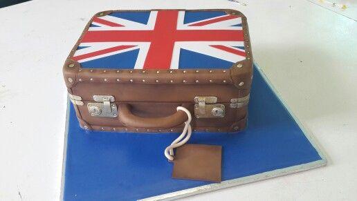 Union Jack suitcase cake