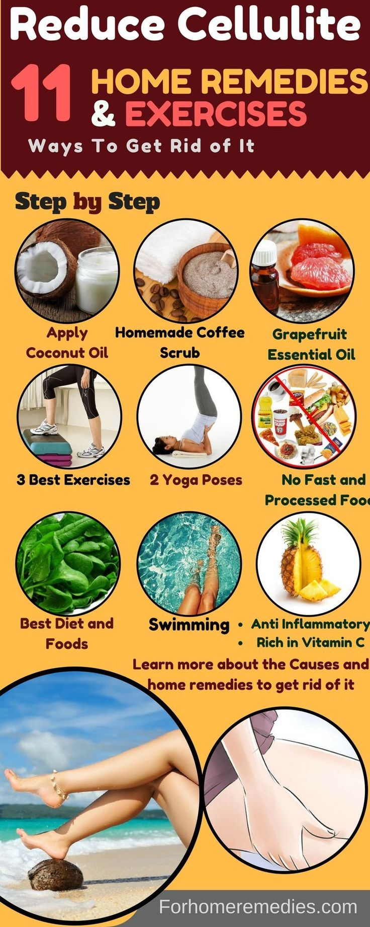11 Tested Ways to Reduce Cellulite: Home Remedies Get Rid Cellulite. 1.Exercises 2.Yoga Poses 3.Essential Oils 4.Coconut Oil 5.Foam Roller 6.Coffee Scrub 7.Best Food 8.Pineapple,9.Grapefruit Oil 10.Foods to avoid 11.Foam Roller