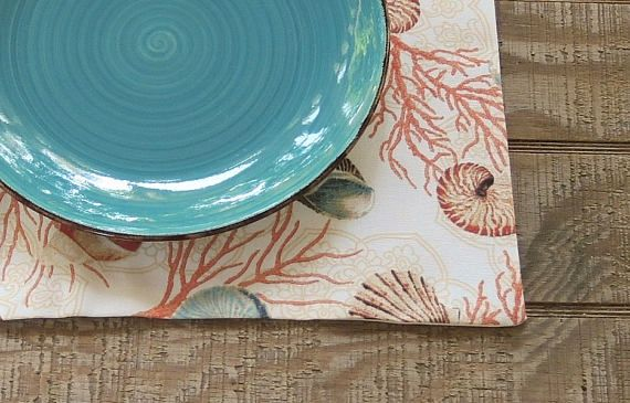 Seashells Lined Placemats Set of 4 Nautical Placemats Modern