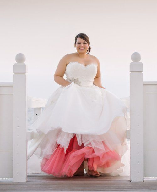 Prettiest 8 Plus Size Summer Wedding Dresses: Cute strapless plus size summer wedding gown with bubble skirt and coral petticoat