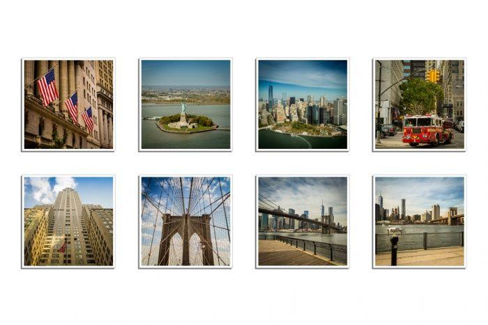 """Oryginalne gotowe magnesy na lodówkę z Instagram wzór """"NYC""""   Zdjęcia drukowane są w formie kwadratu na wzór Instagram  Komplet zawiera 8 szt. gotowych magnesów, wzór """"NYC"""" w rozmiarze 5 x 5 cm  Magnesy pokrywane są zabezpieczającym laminatem dzięki temu są trwałe i służą przez lata."""