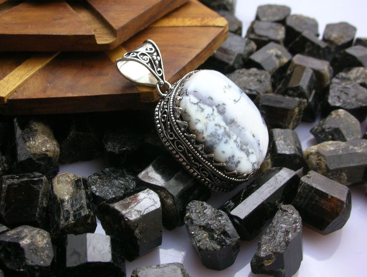 Opal Jewellery – Beautiful Dendrite Opal 925Sterling Silver Pendant – a unique product by IndianCraftPalace on DaWanda