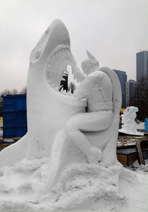 Snowman Batman Fighting Great White Shark