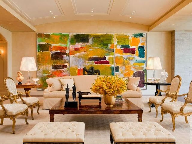 In Good Taste: David Scott Interiors  Woah, that painting certainly takes over the room.