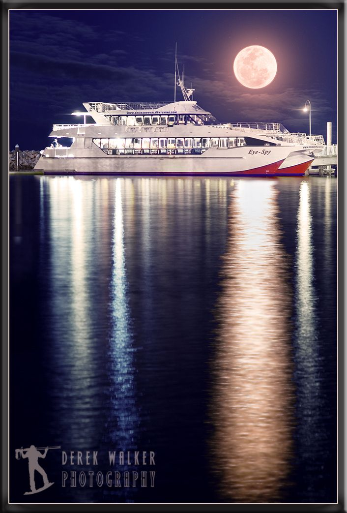 Moonrise over the Eye-spy of Brisbane Whale Watching at Redcliffe, QLD Australia